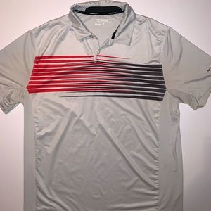 Nike Golf Shirt Light Gray Red Stripes Poly XL